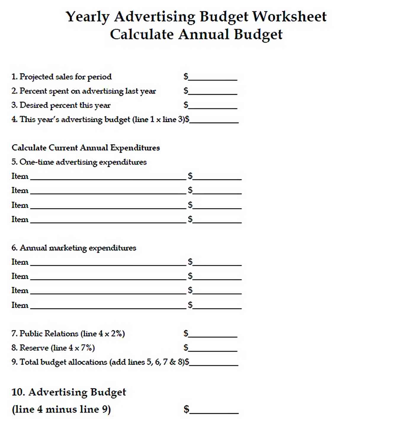 Annual Advertising Budget