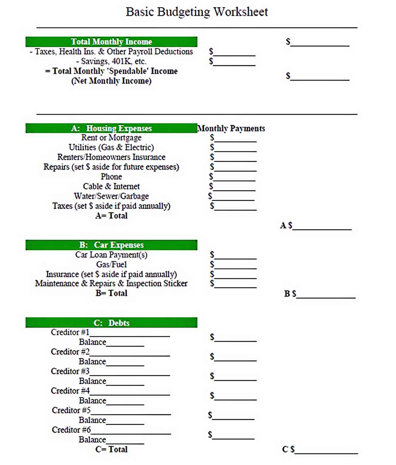 Basic Budget Template Printable sample