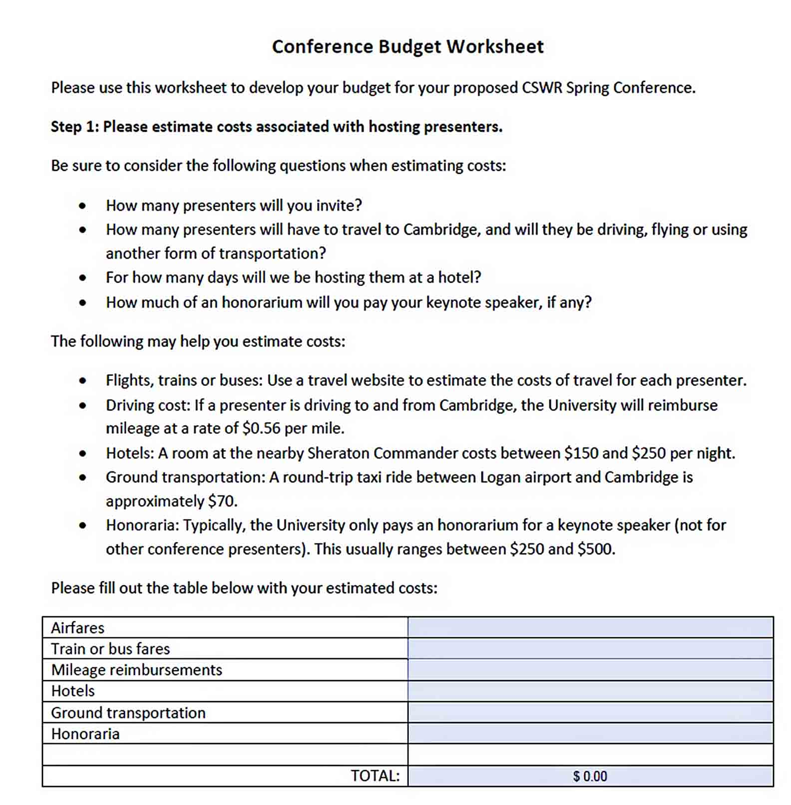 Conference Budget Worksheet sample 1