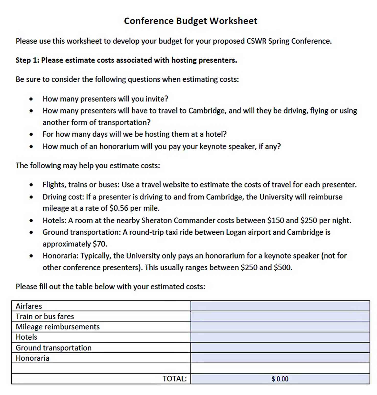 Conference Budget Worksheet sample