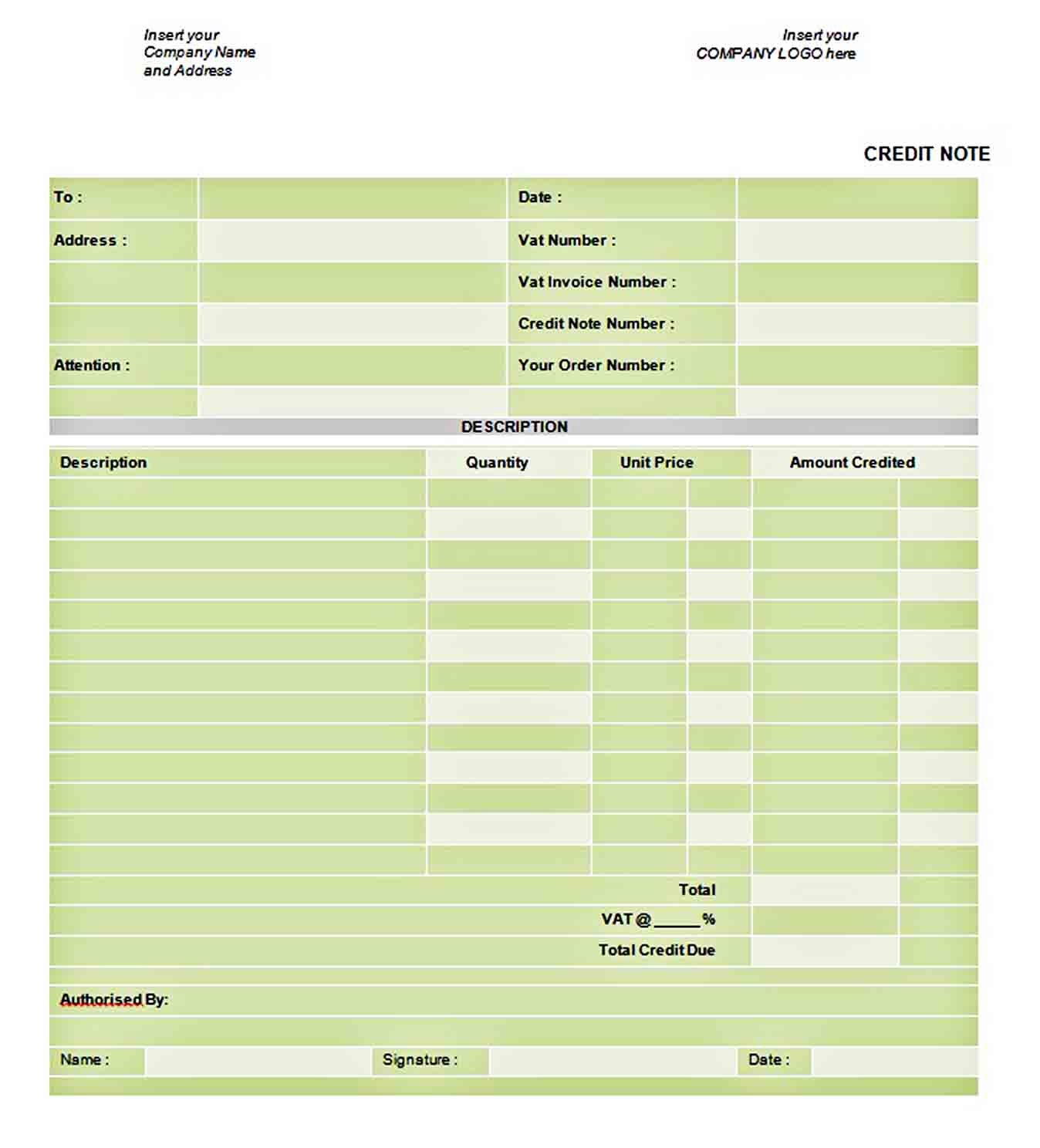 Download Credit Note Doc Format Template sample