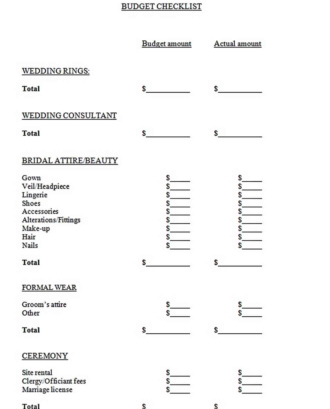 Easy To Edit Wedding Budget Template For Download1 sample