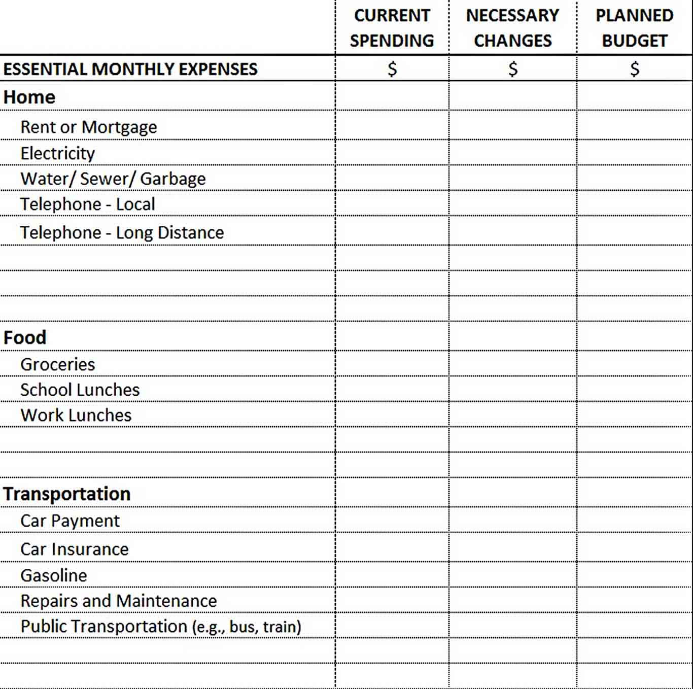 Essential Monthly Expenses Budget Template sample