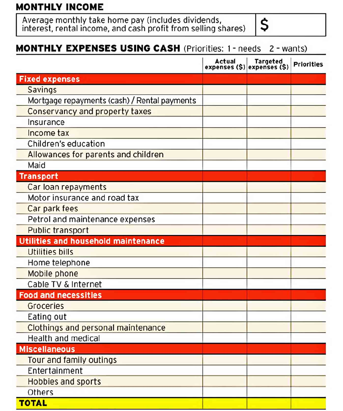 Family Budget Template sample