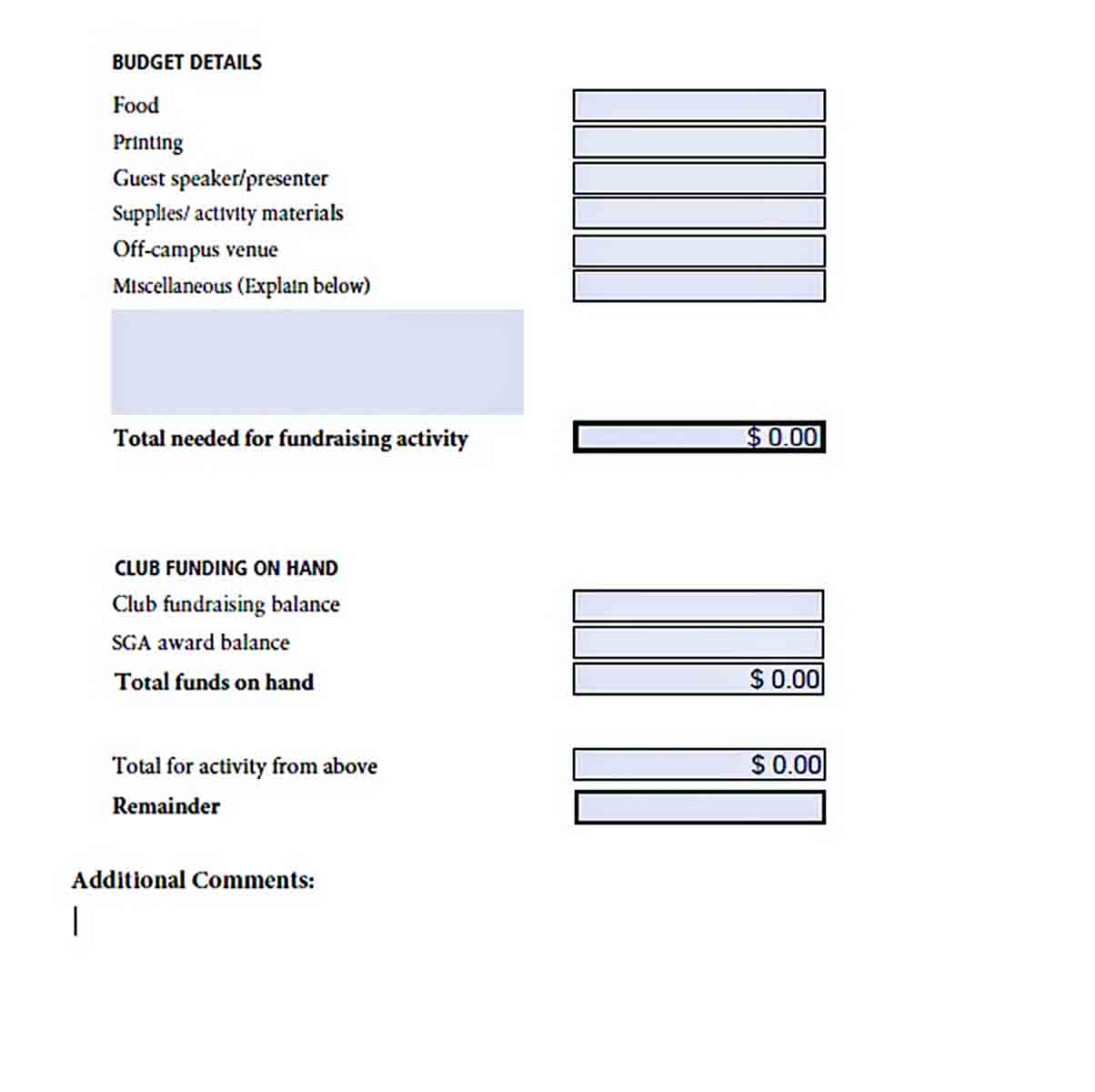 Free Fundraising Budget Sheet sample
