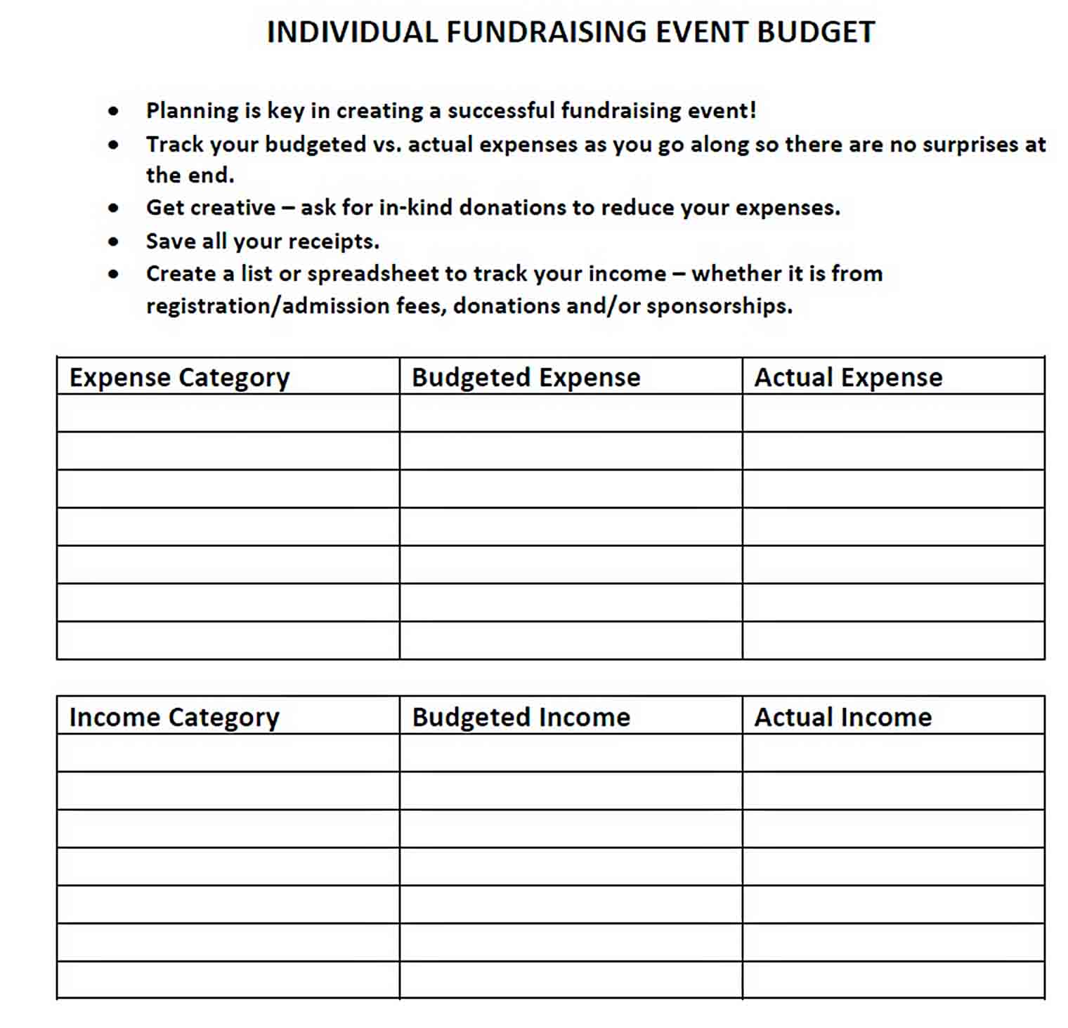 Fundraising Event sample
