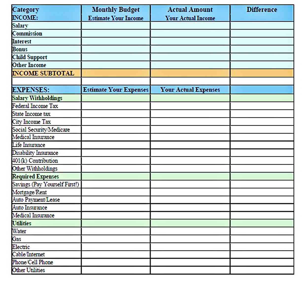 Monthly Family Budget Template sample
