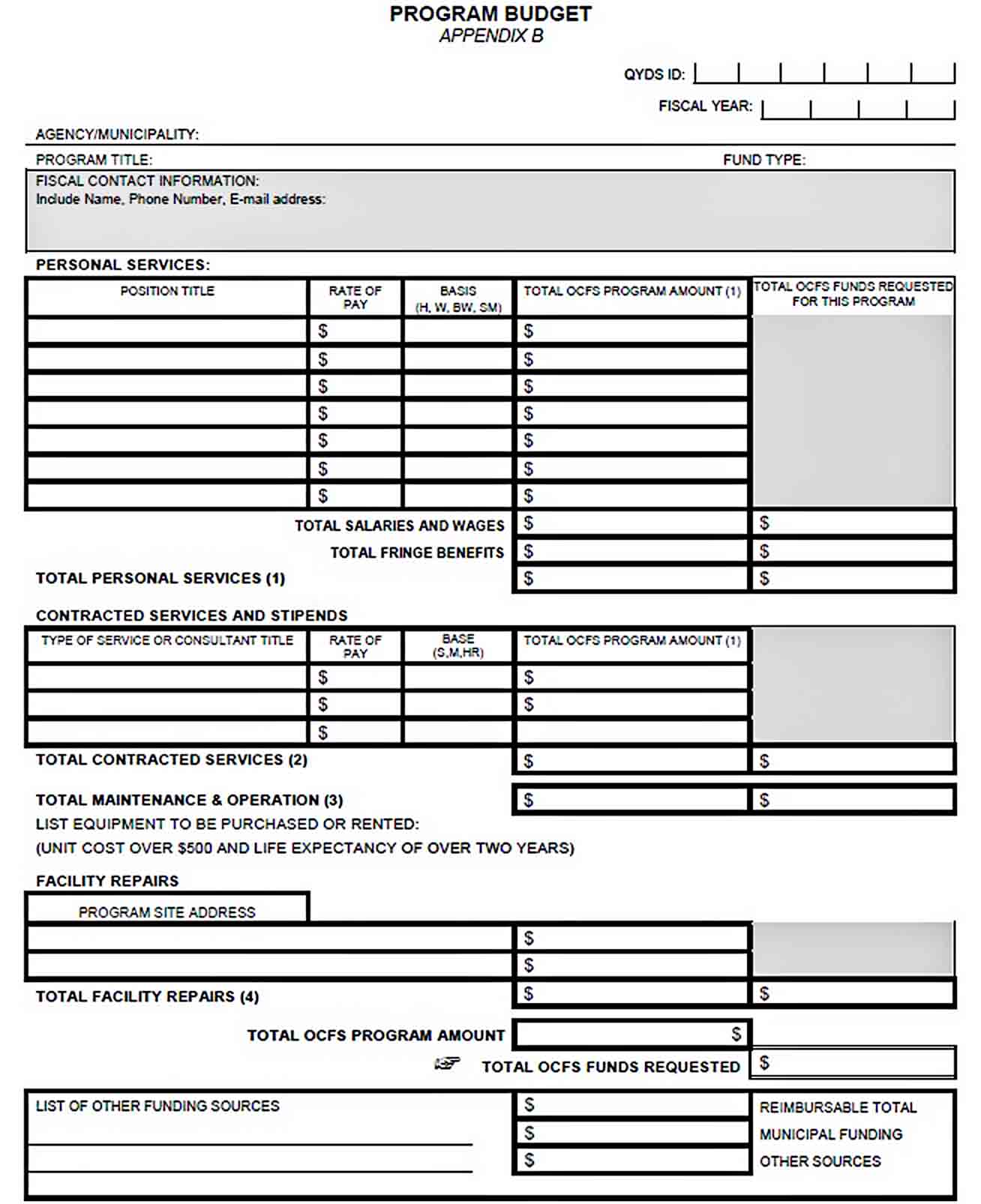 Office Program Budget Template sample