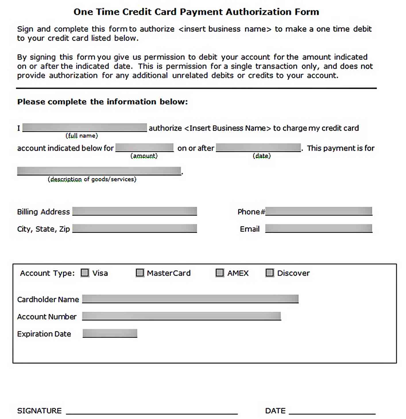 One Time Credit Card Payment Authorization Form Template sample