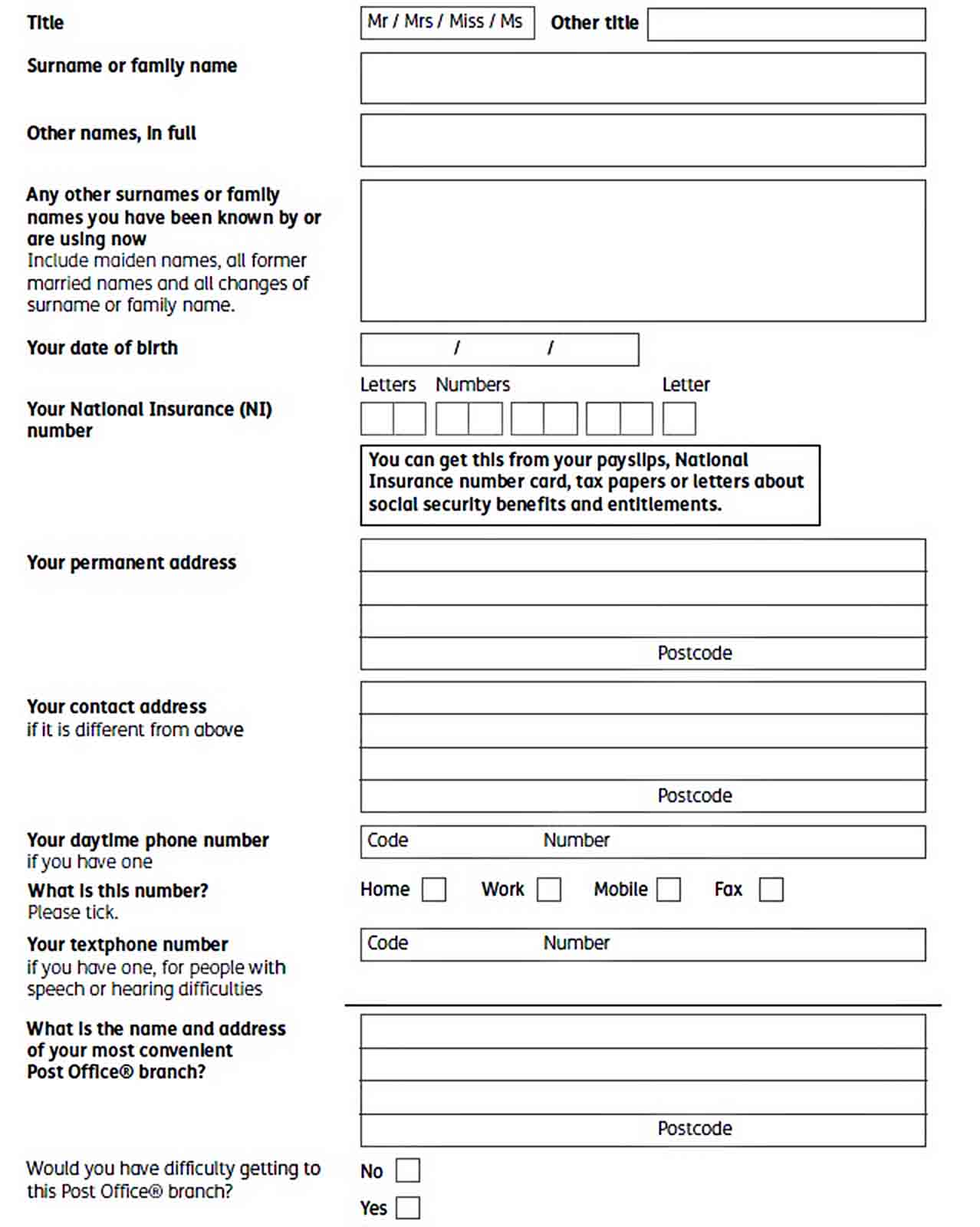 Pension Credit Applicaion Form Template sample