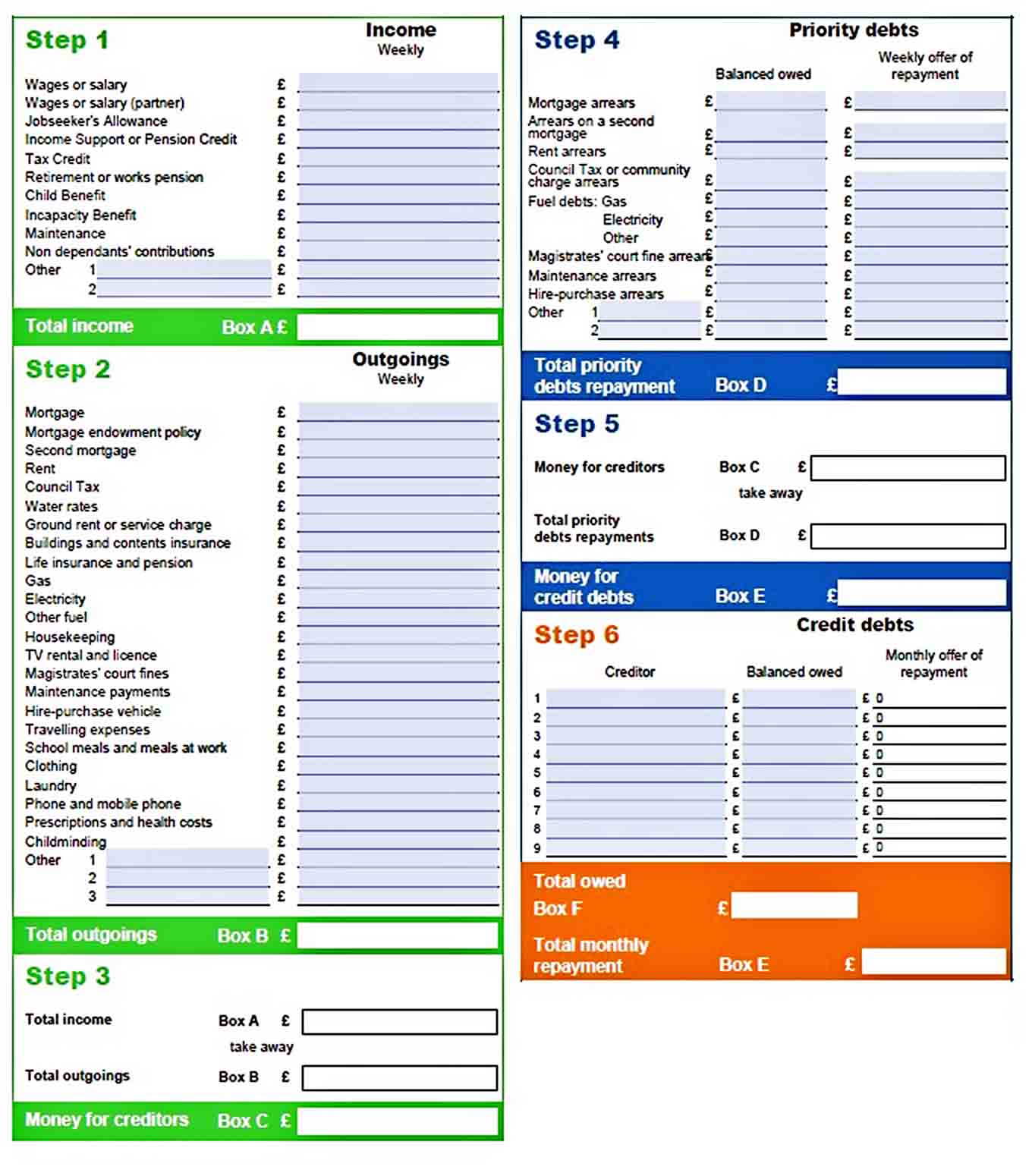 Personal Budget Template Printable sample