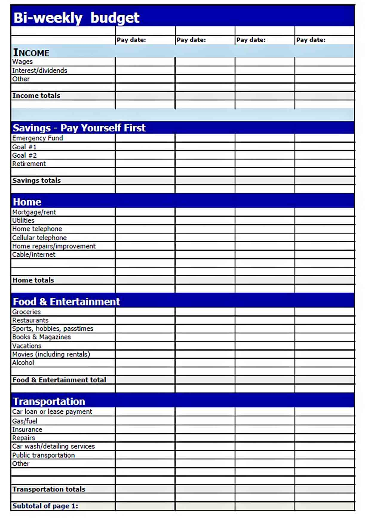 Printable Bi Weekly Budget Template sample