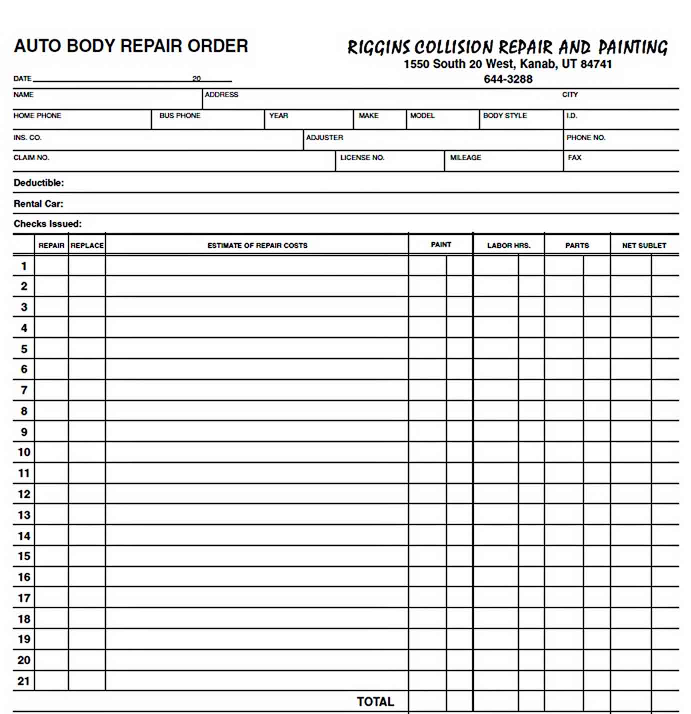 Riggins Repair Order. Estimate sample