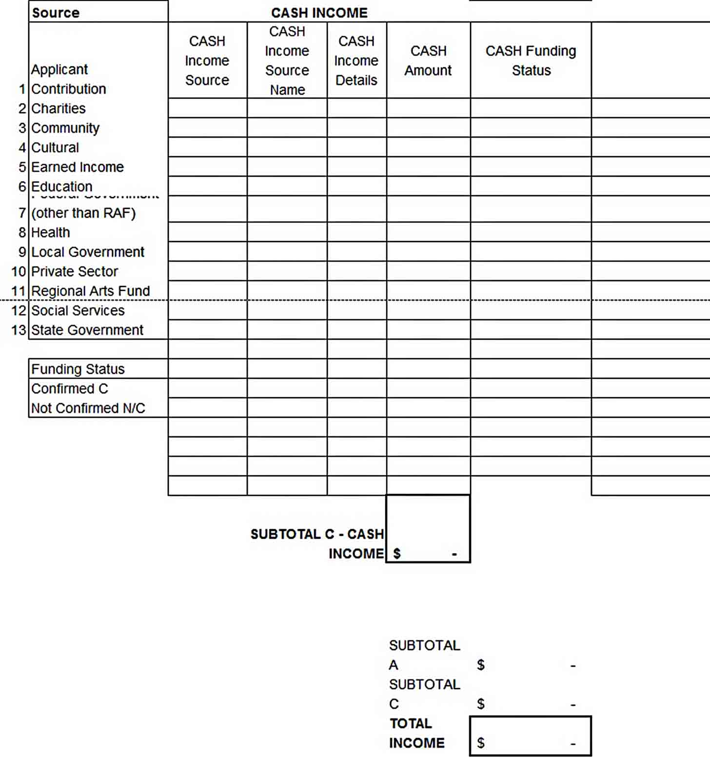 Sample Excel Budget Template sample