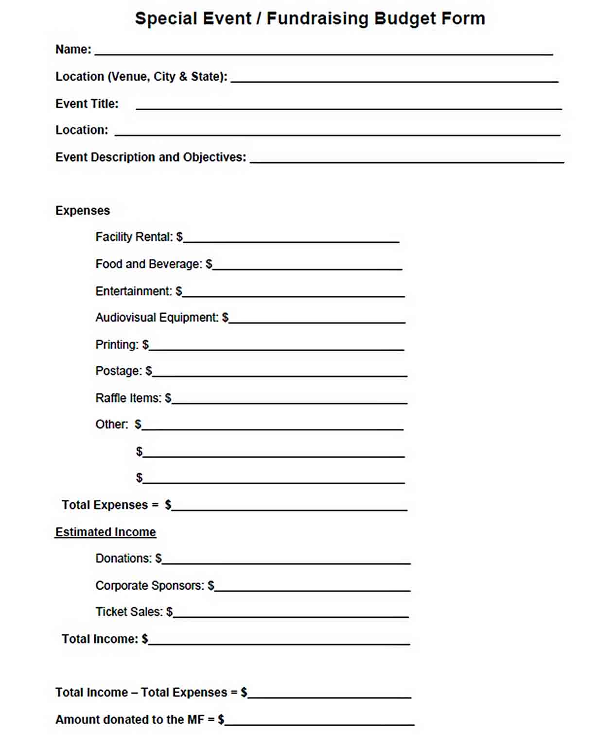 Special Event Fundraising Form sample