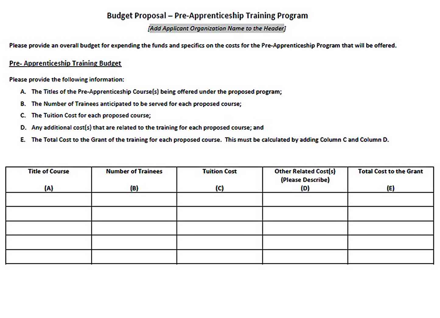 Training Program Budget Template sample 1