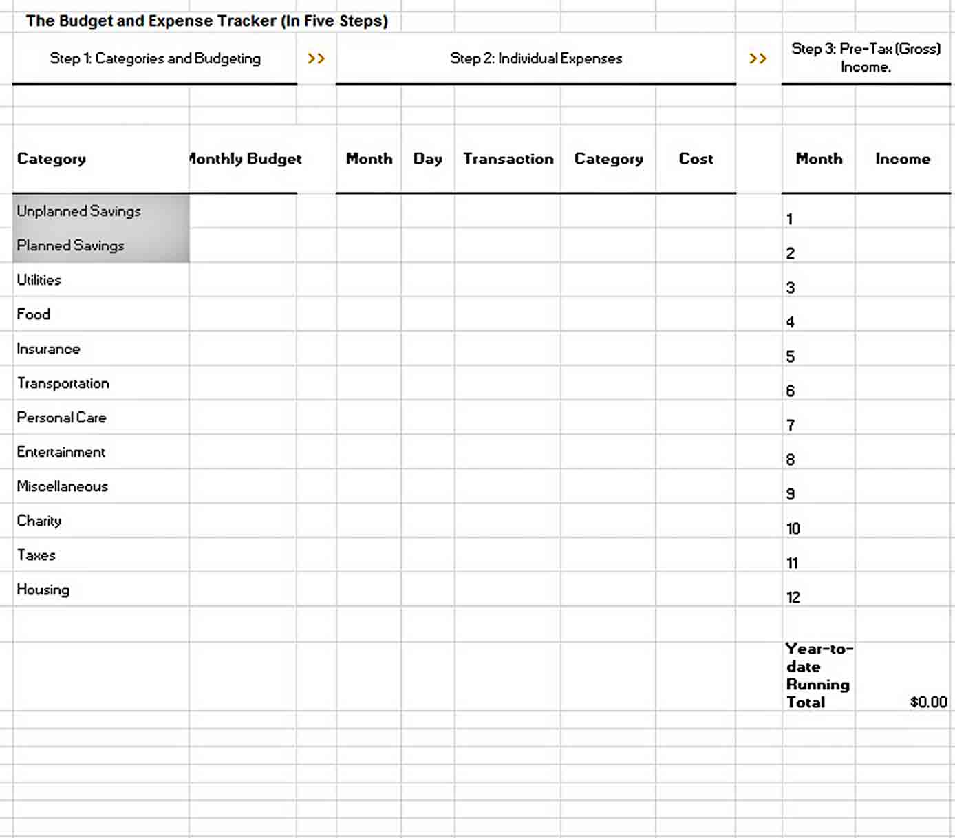 budget and expences tracker template sample