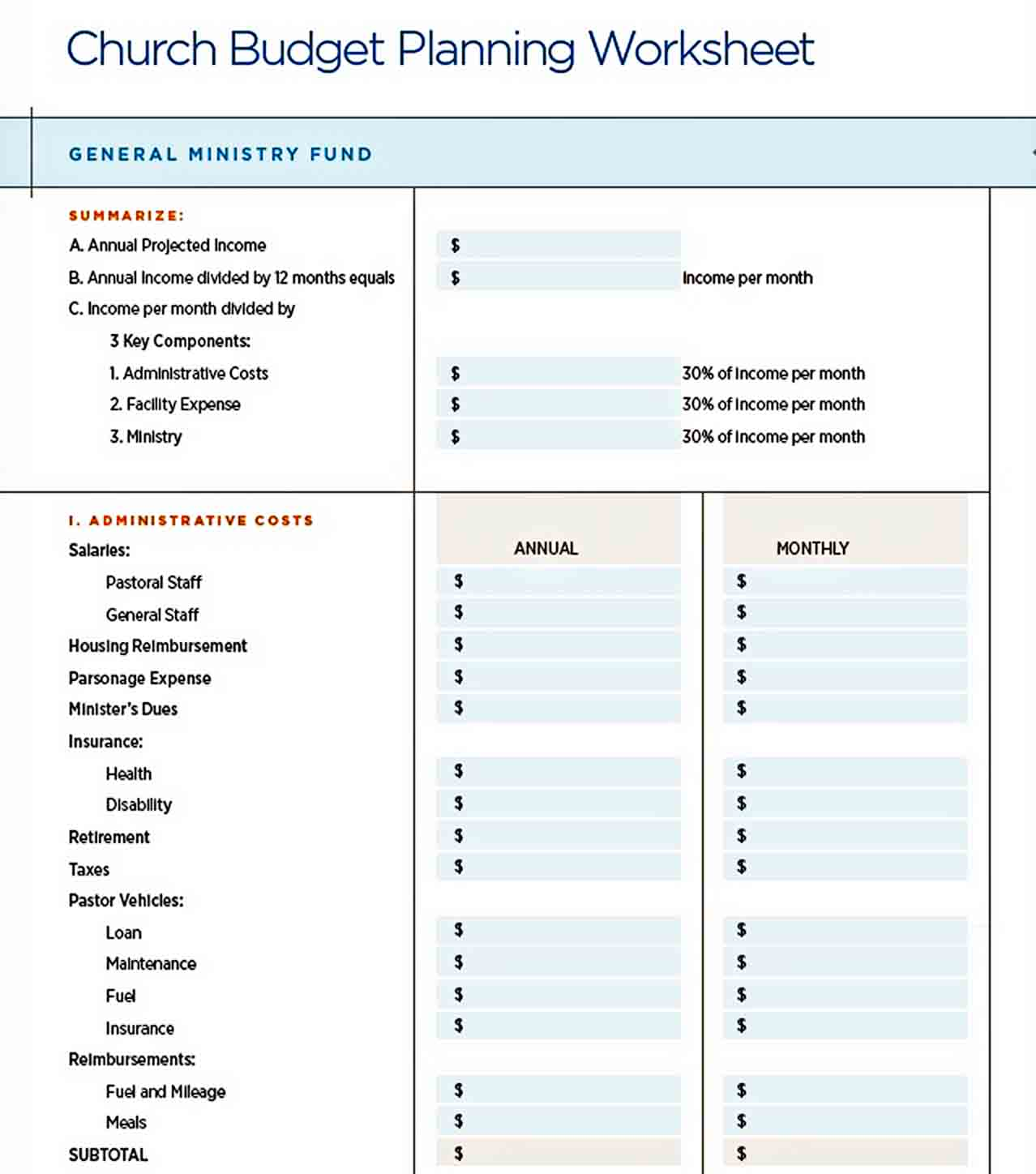 catholic church budget Planning template sample
