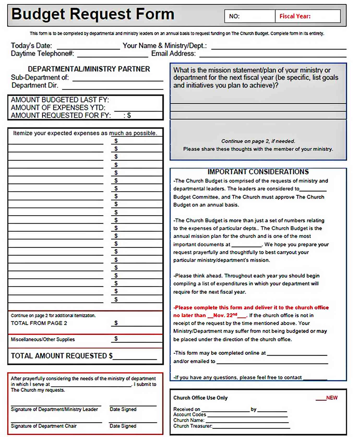 church ministry budget request form PDF Download sample