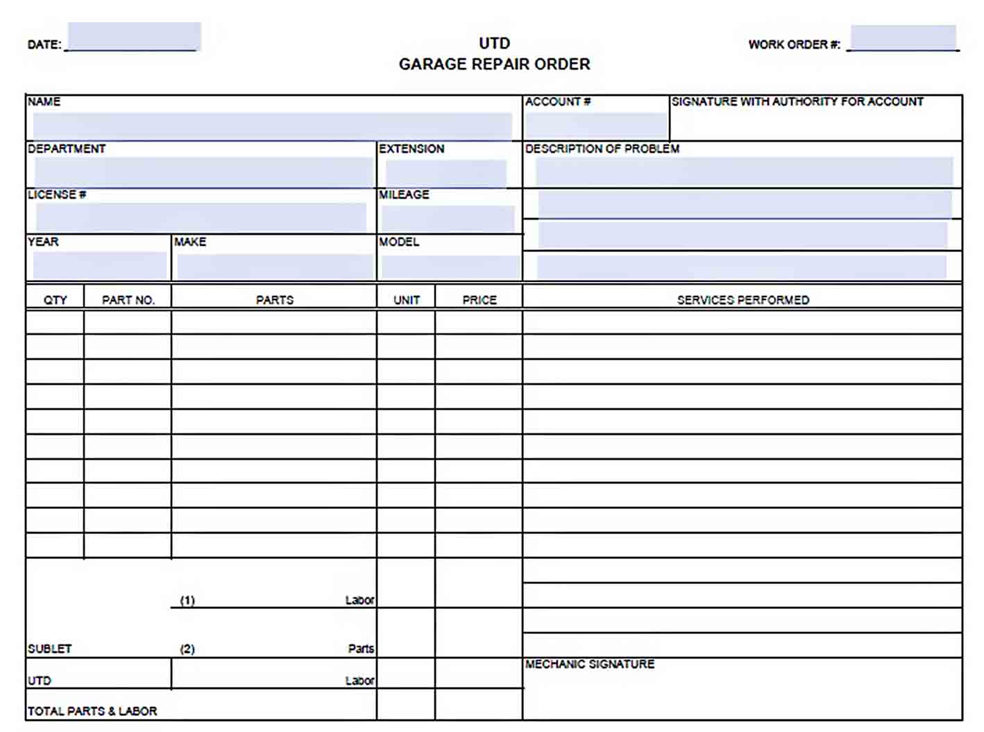 garage repair order form sample