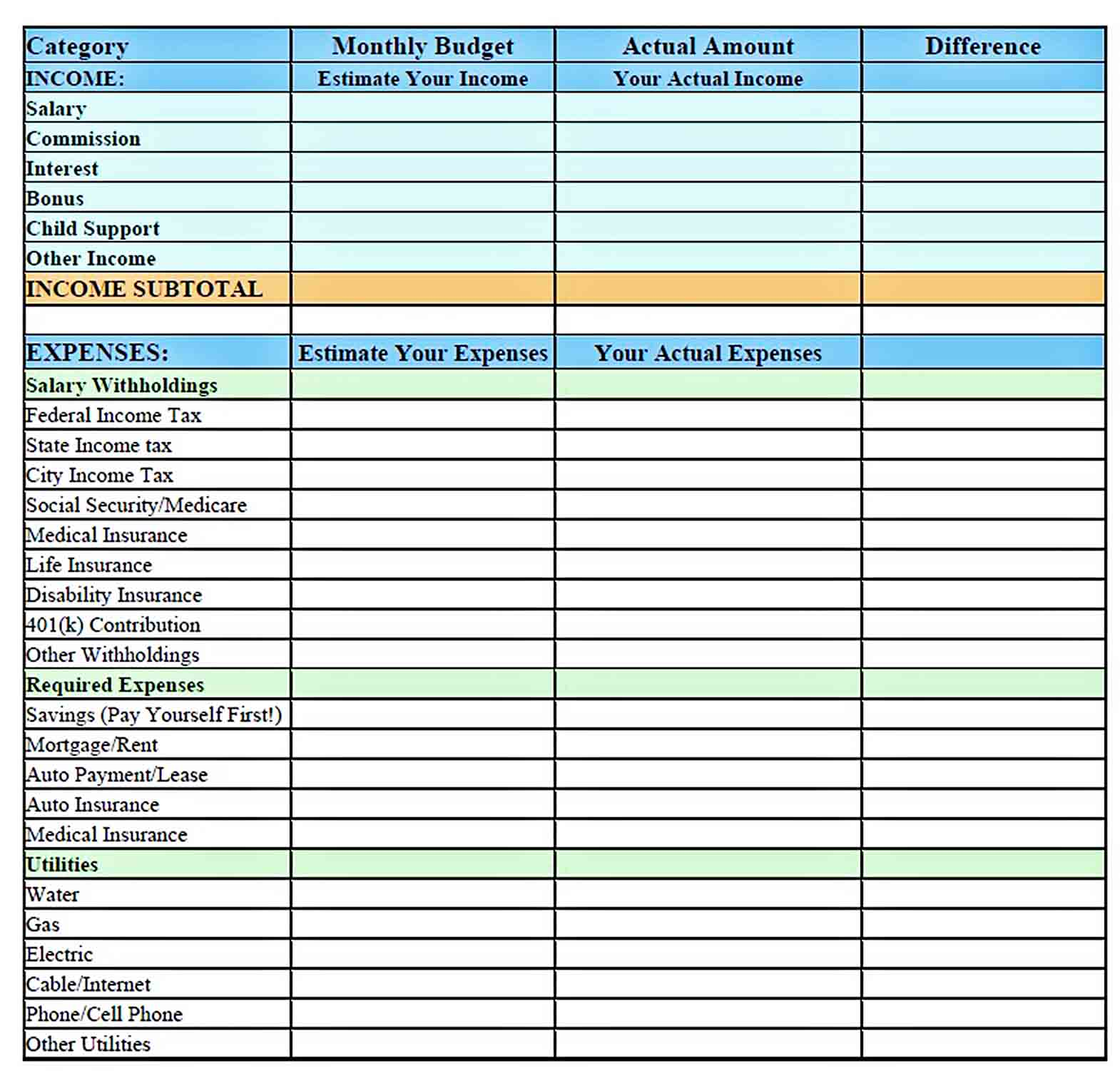 personal monthly budget template sample 2
