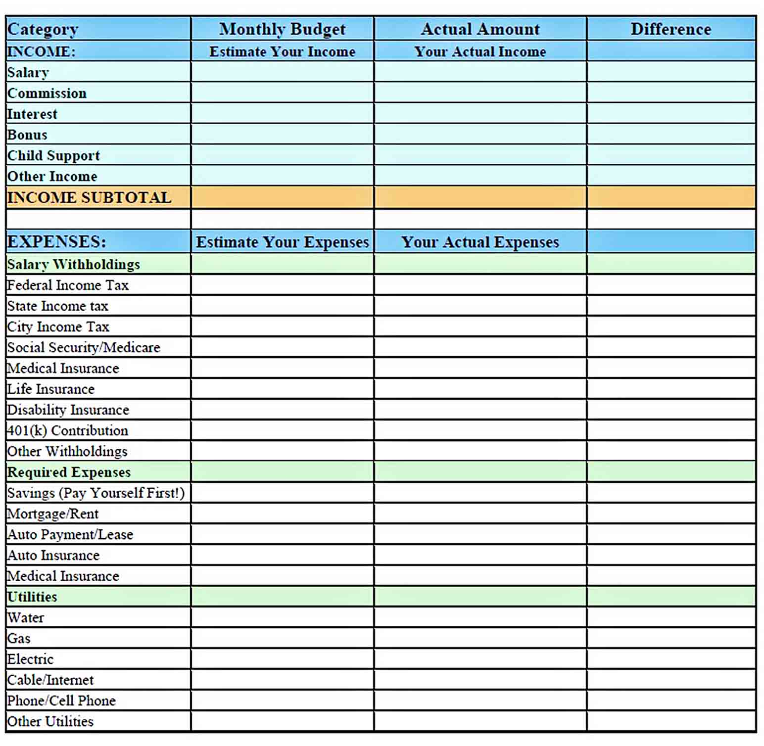 personal monthly budget template sample 3