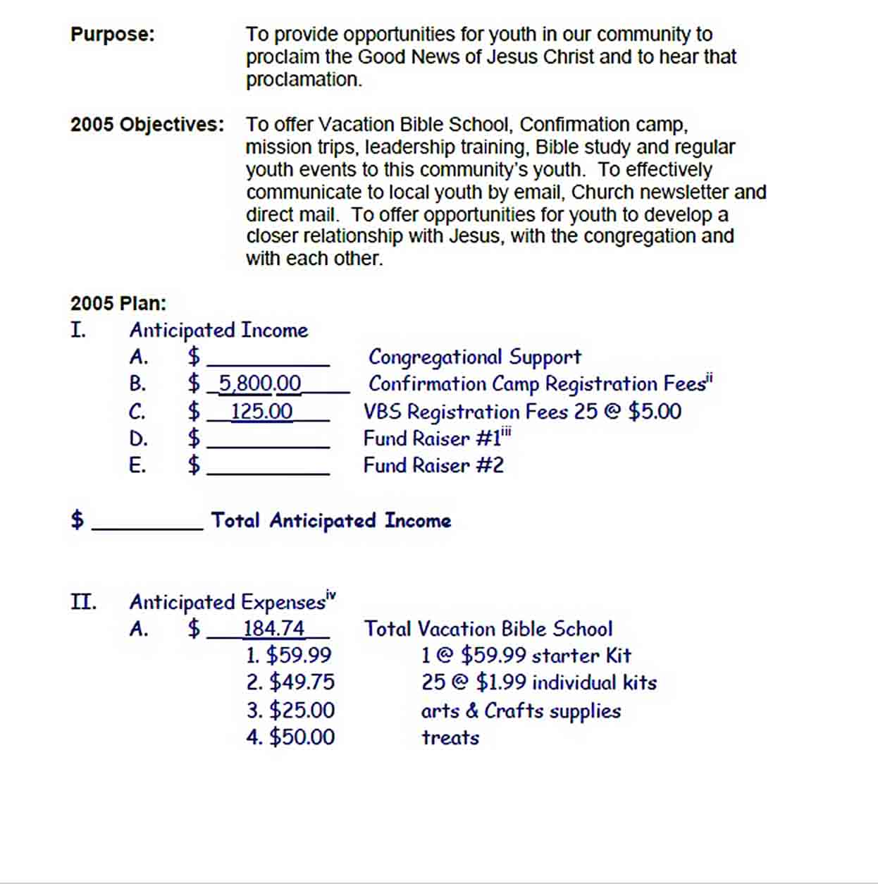 youth church budget template pdf File sample