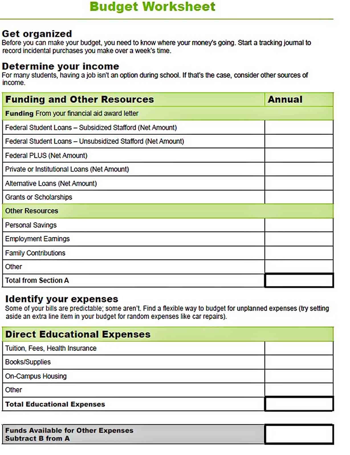 In School Budget Worksheet sample