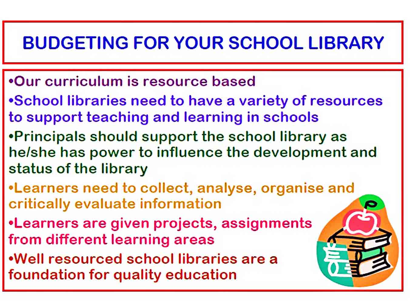 School Library Budget sample