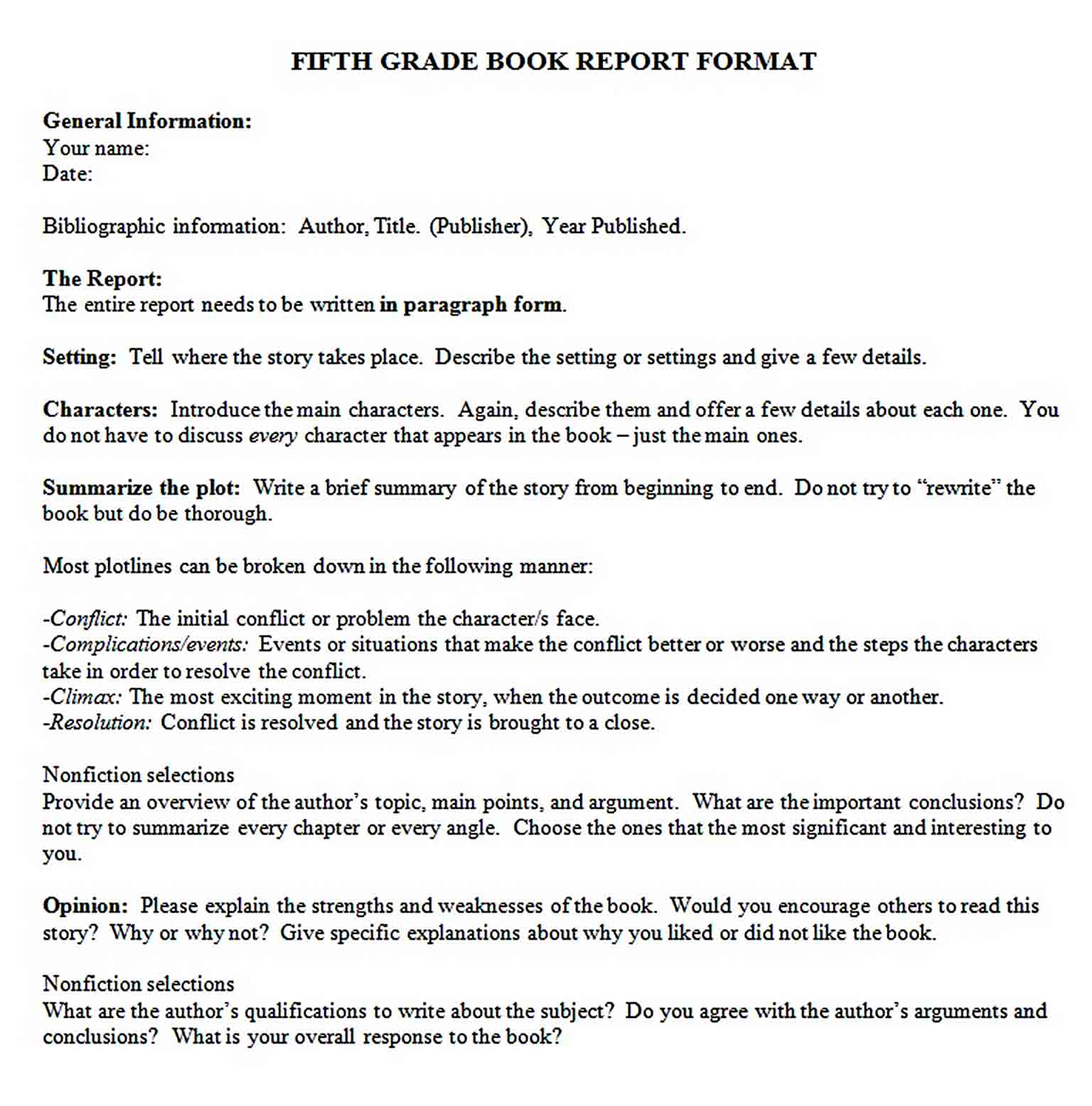 Templates 5th Grade Book Report Format