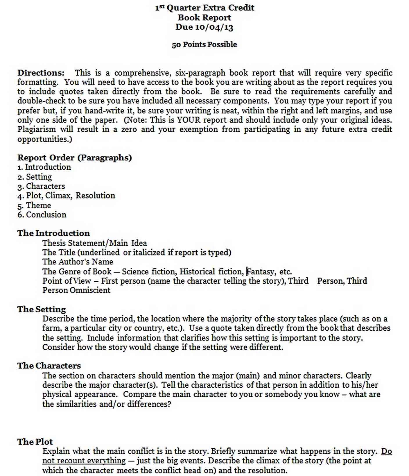 Templates 7th and 8th Grade Book Report Format