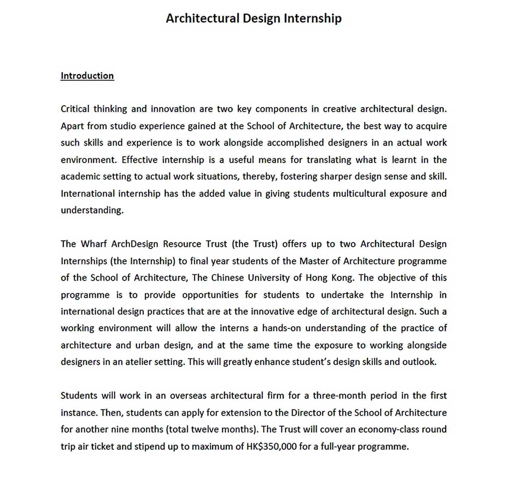 Templates Architecture Student Internship Report
