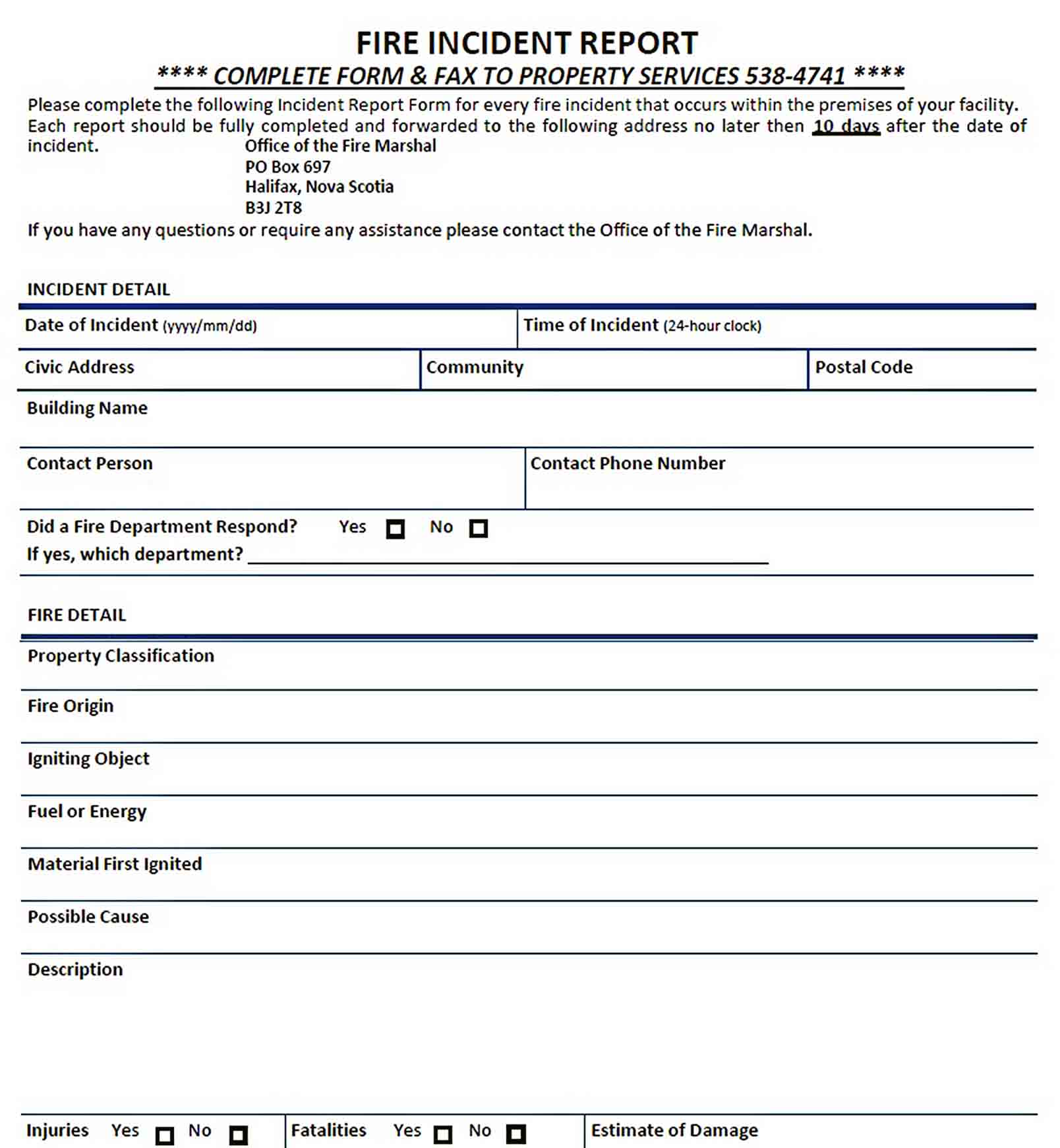 Templates Blank Fire Incident Report