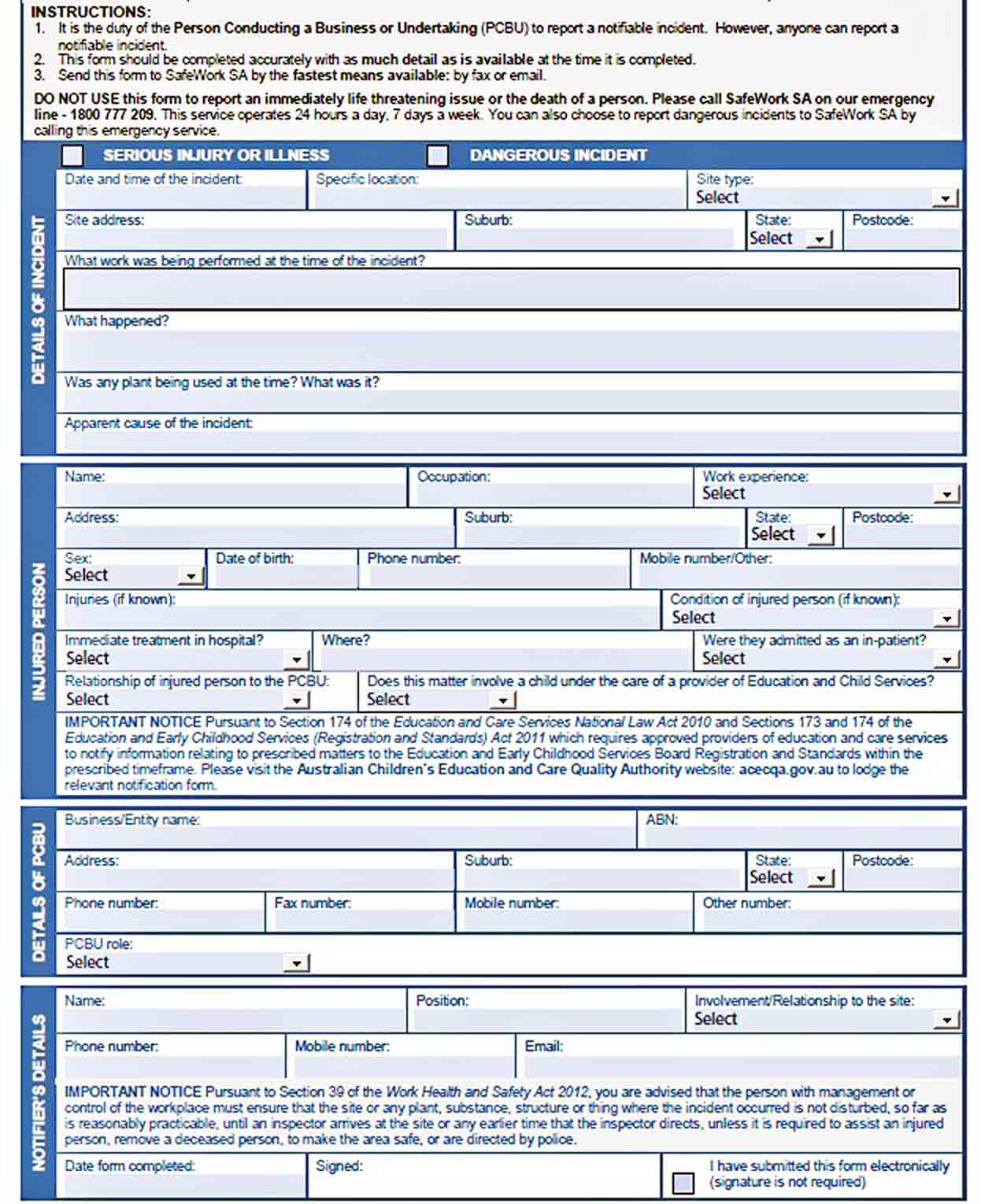 Templates Blank Incident Report Form