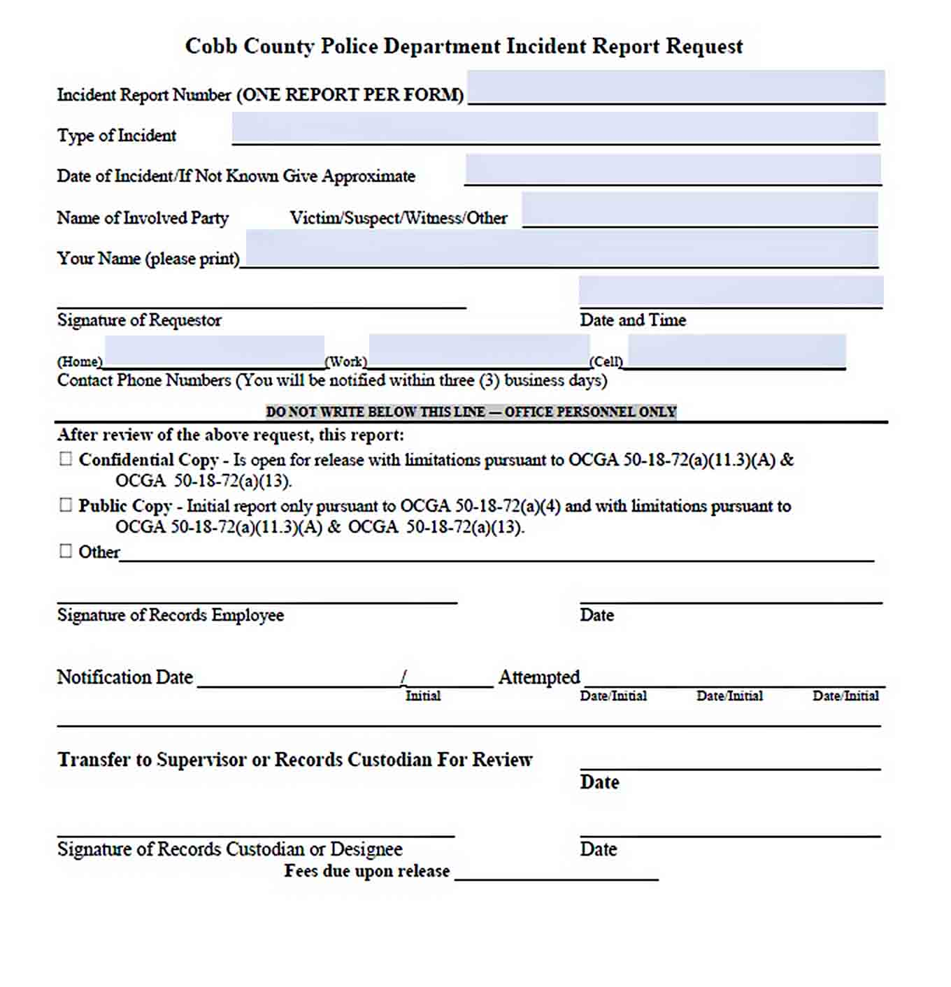 Templates Blank Police Incident Report