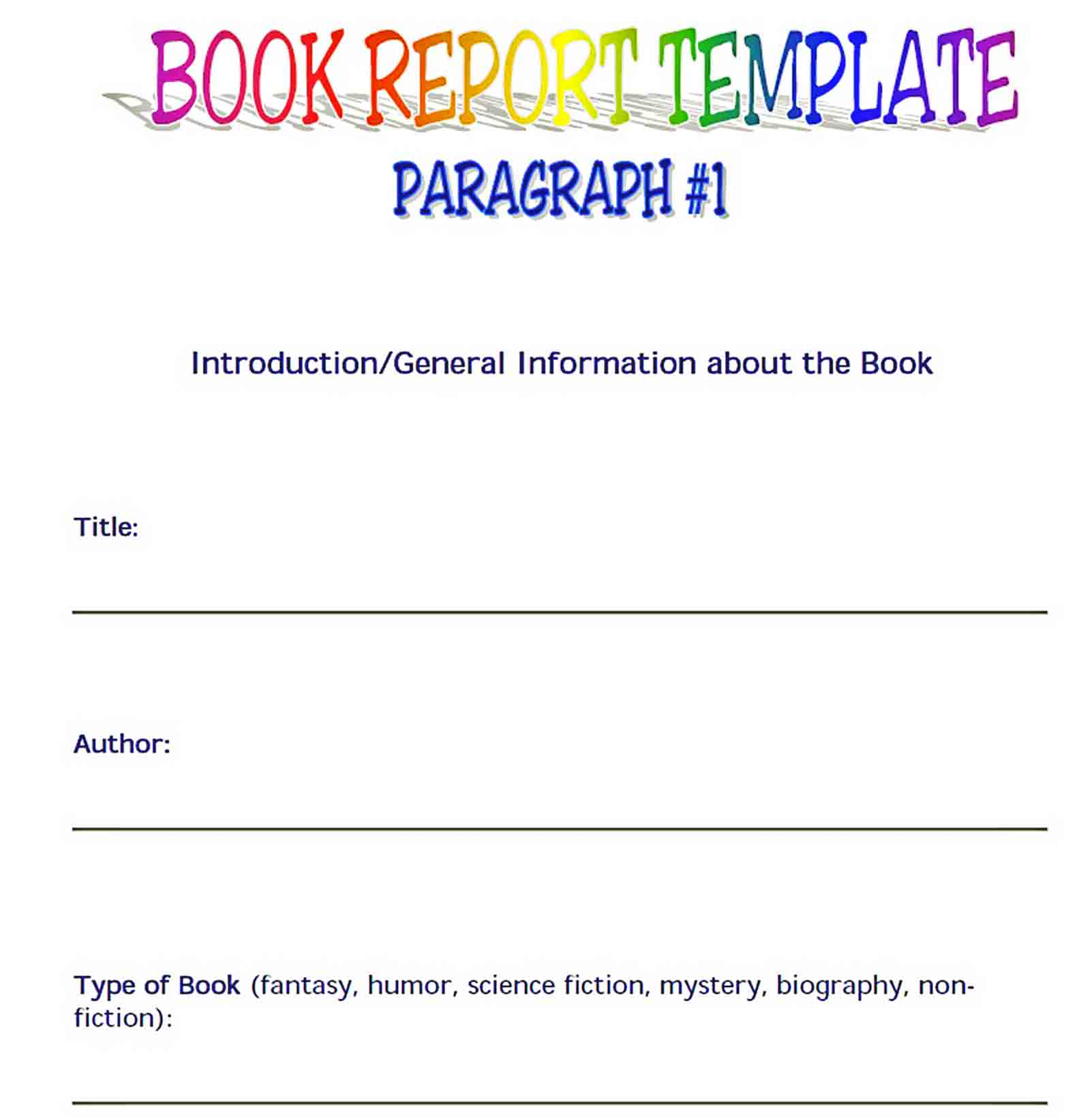 Templates Book Report Format