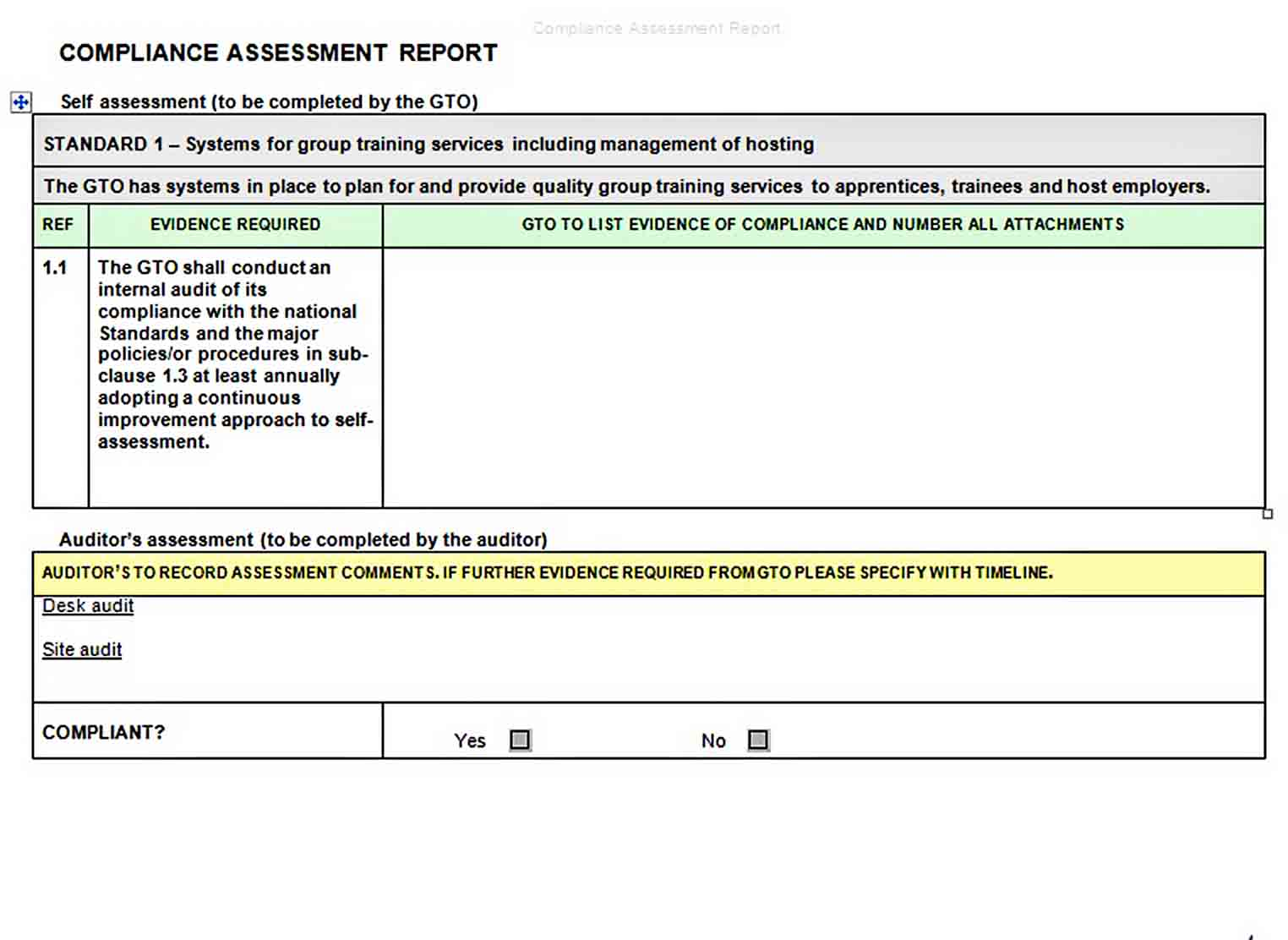 Templates Compliance Assessment Report