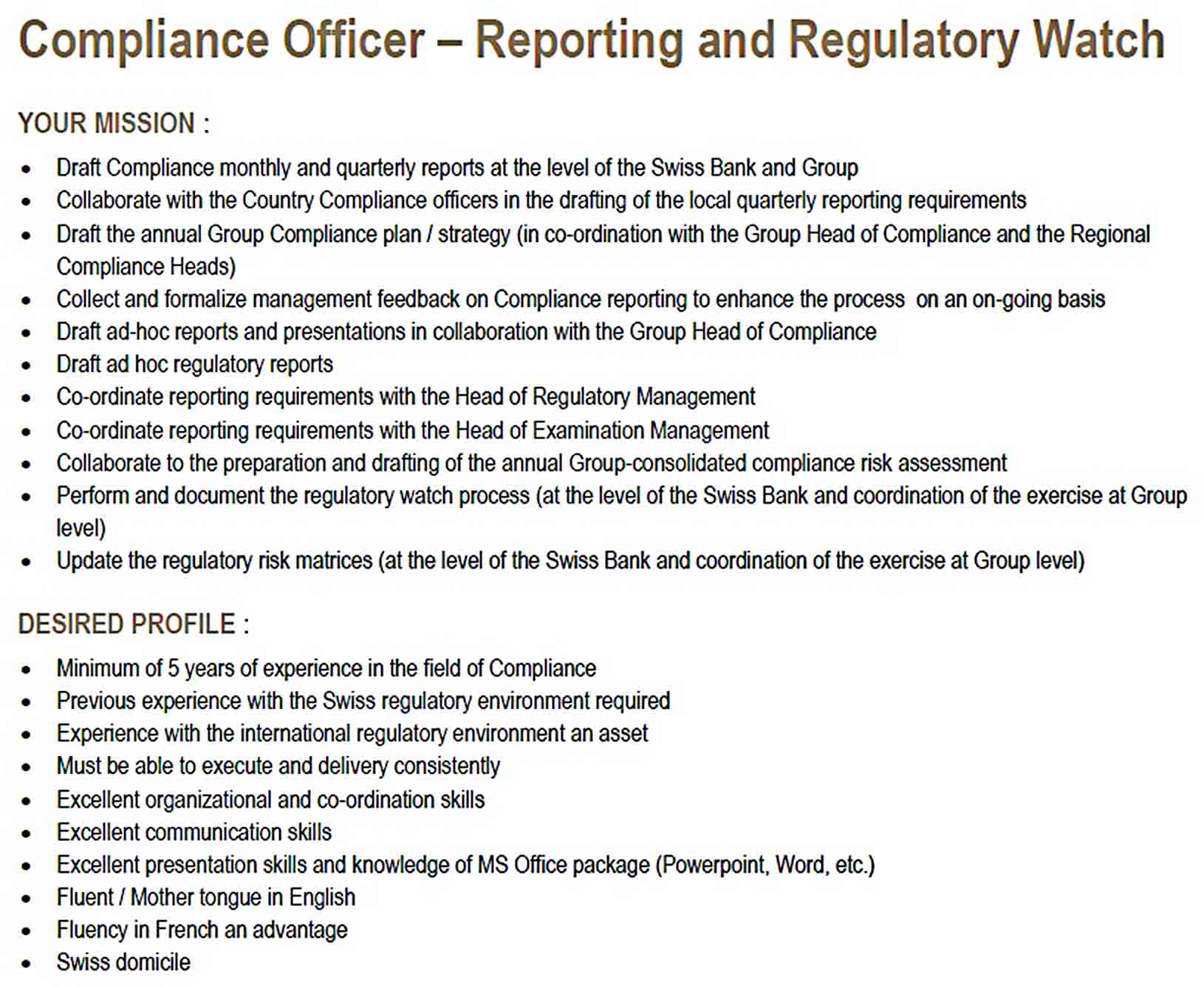 Templates Compliance Officer Report
