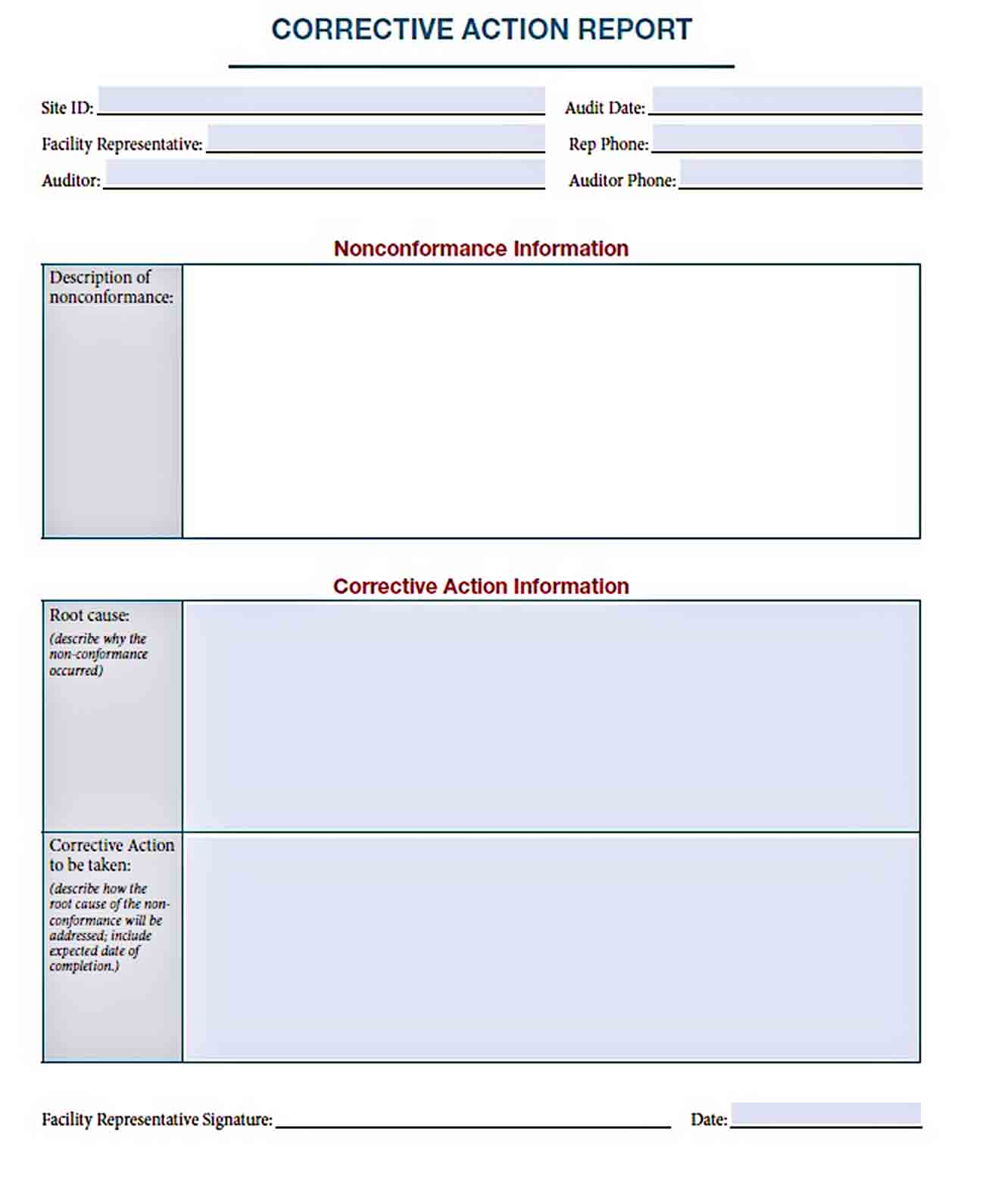 Templates Corrective Action Sample
