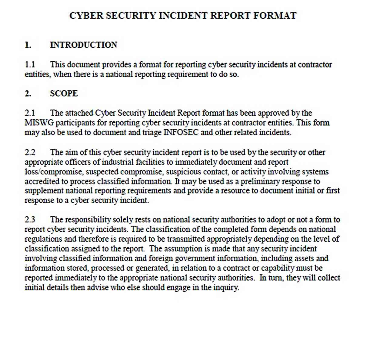 Templates Cyber Security Incident Report