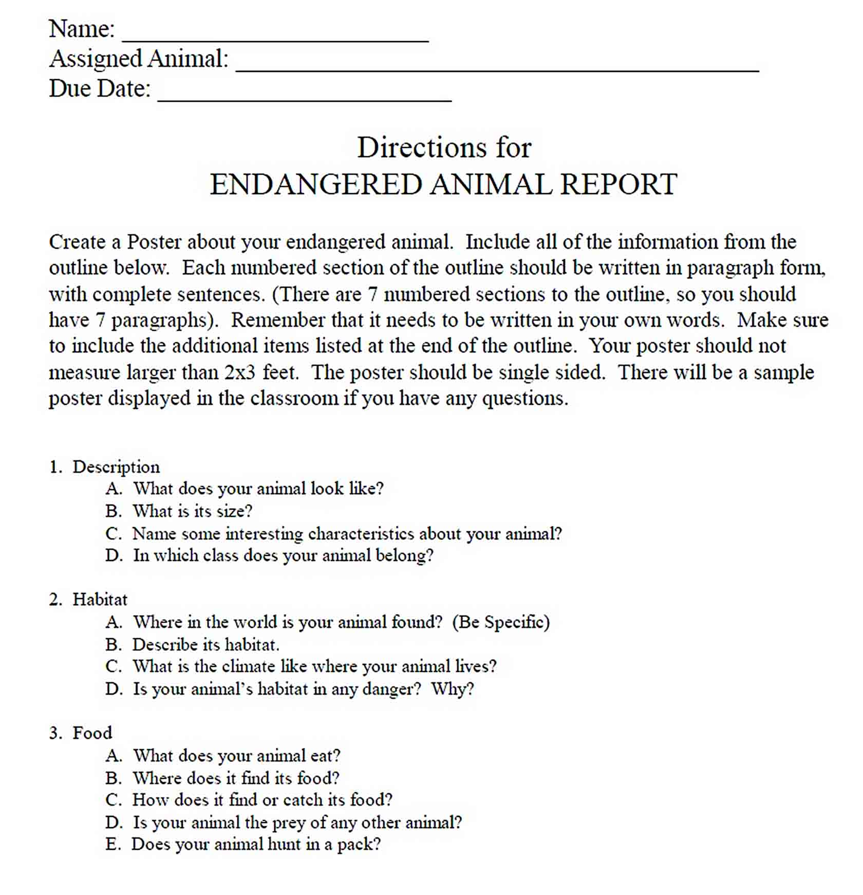 Templates Endangered Report