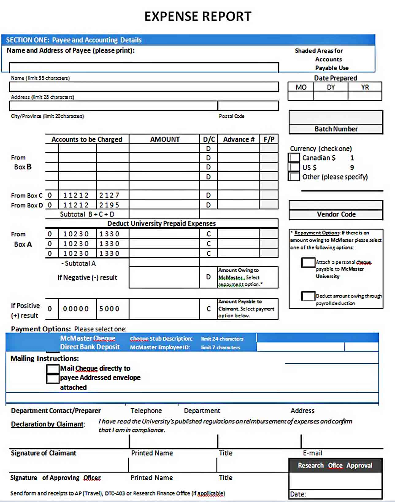 Templates Expense Report