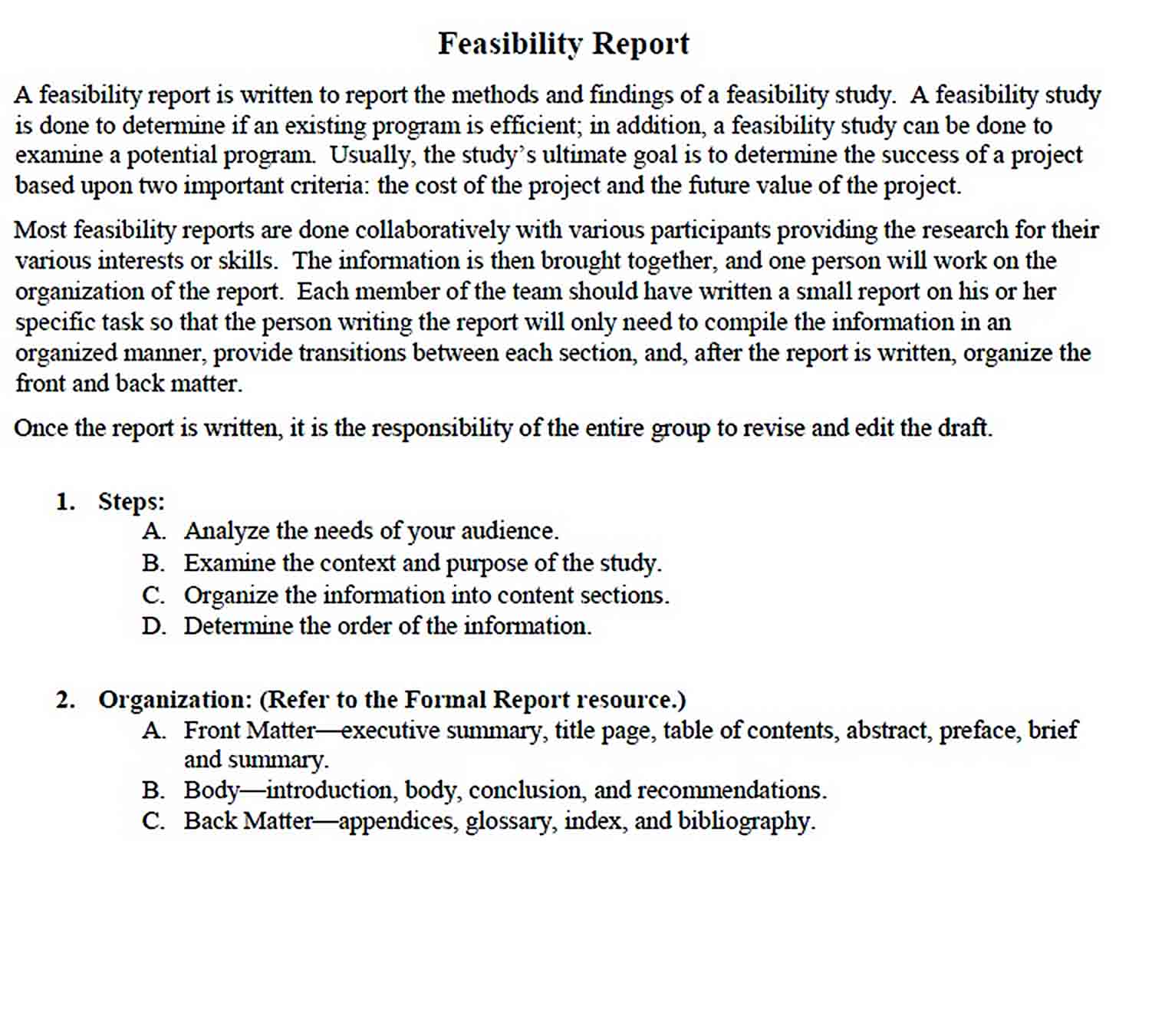 Templates Feasibility Report