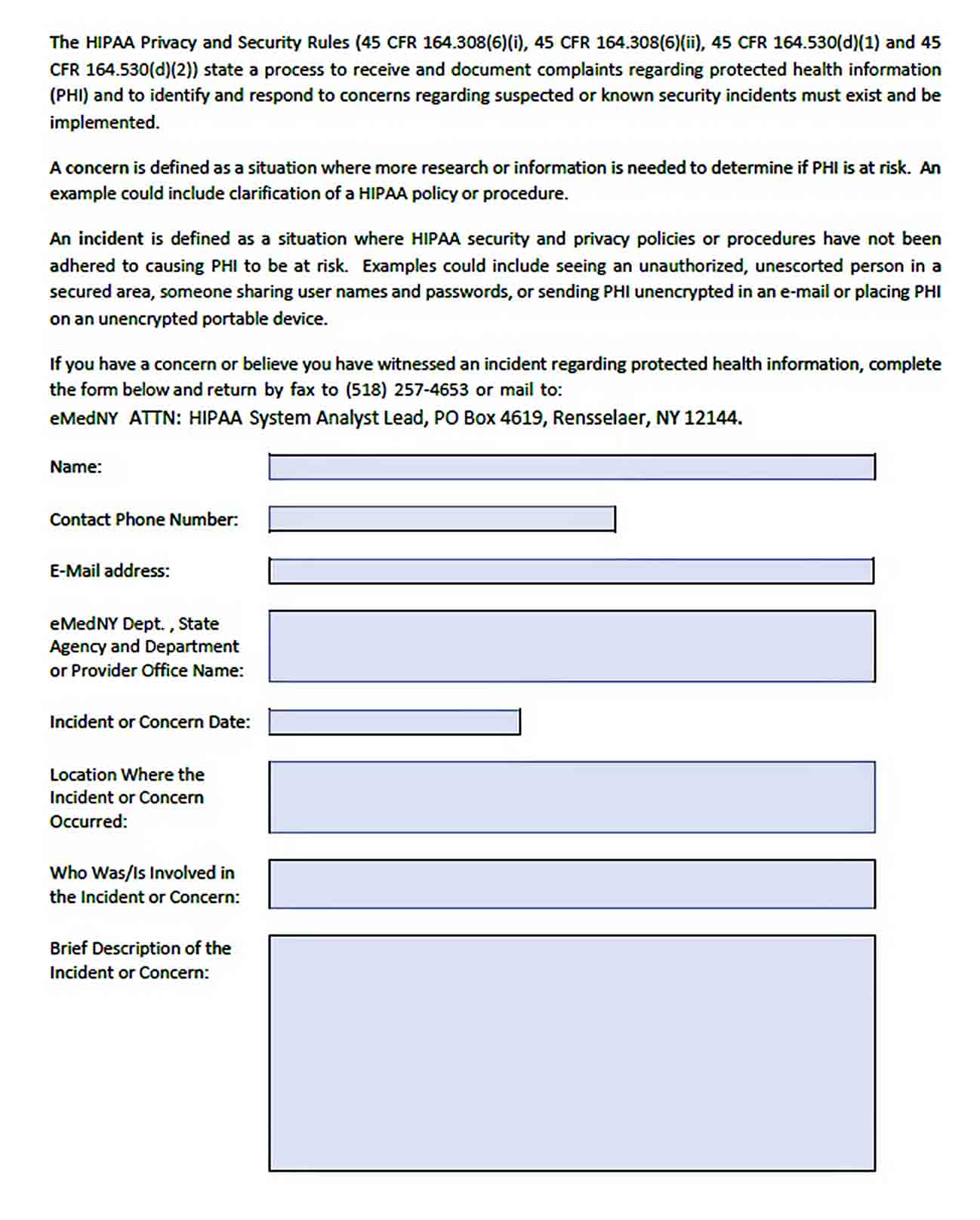 Templates Hipaa Security Incident Report
