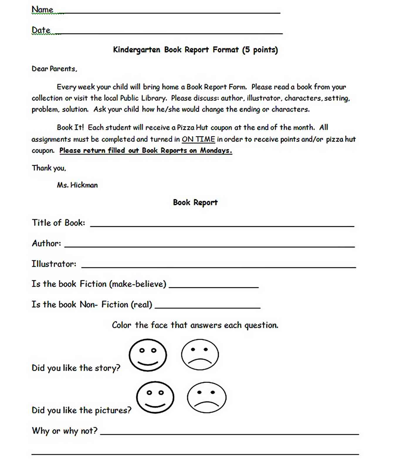 Templates Kindergarten Book Report