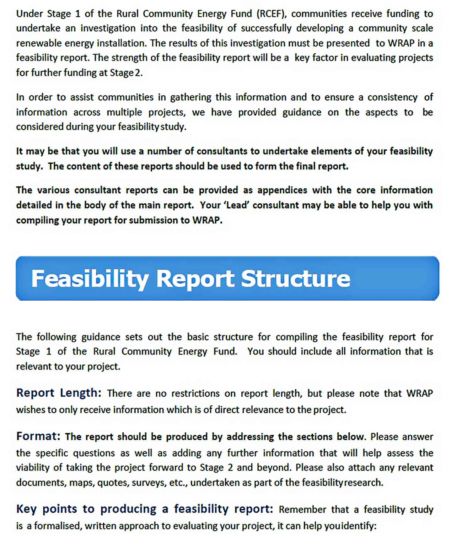 Templates RCEF Stage 1 Feasibility Report Structure Nov 2015 0 1