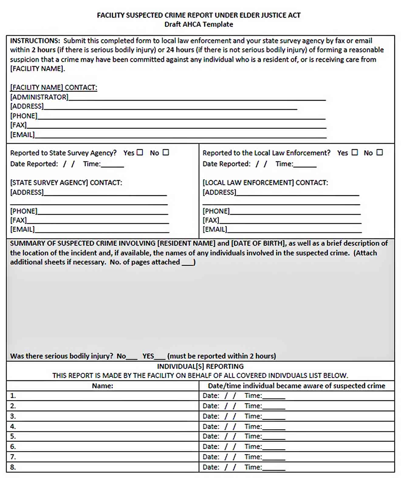 Templates Sample Crime Report Form 001