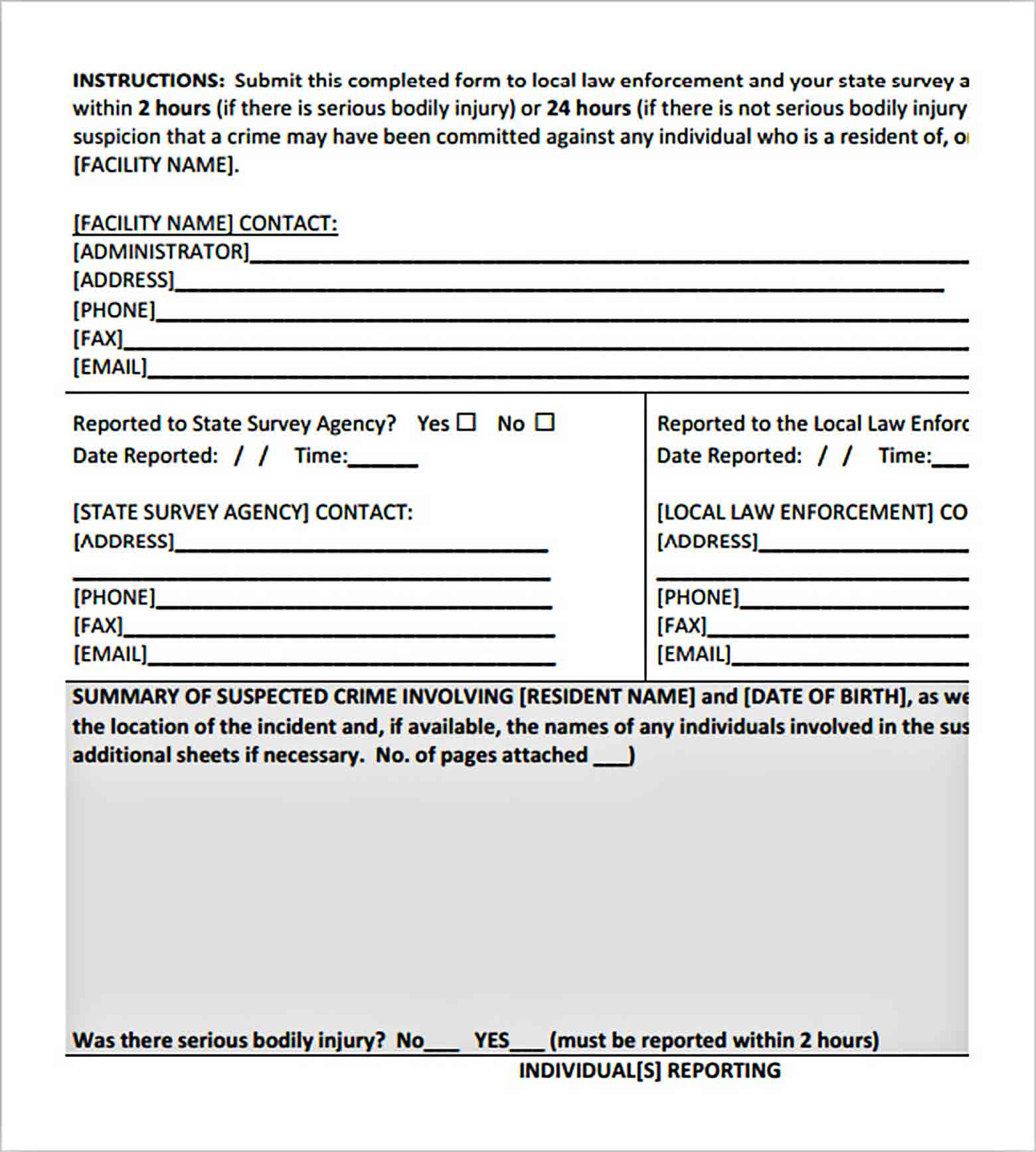 Templates Sample Crime Report Form 002