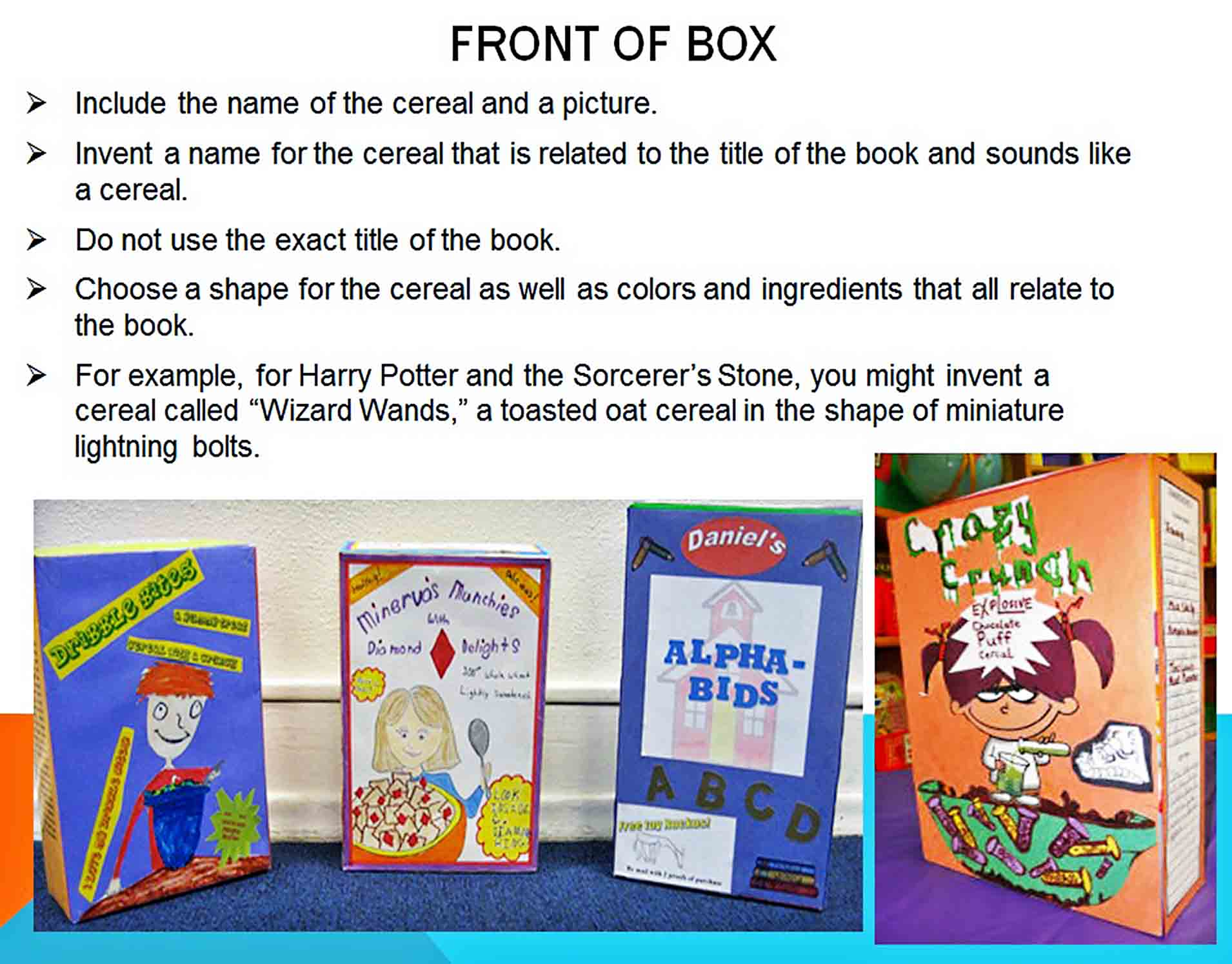 Templates cereal box book report