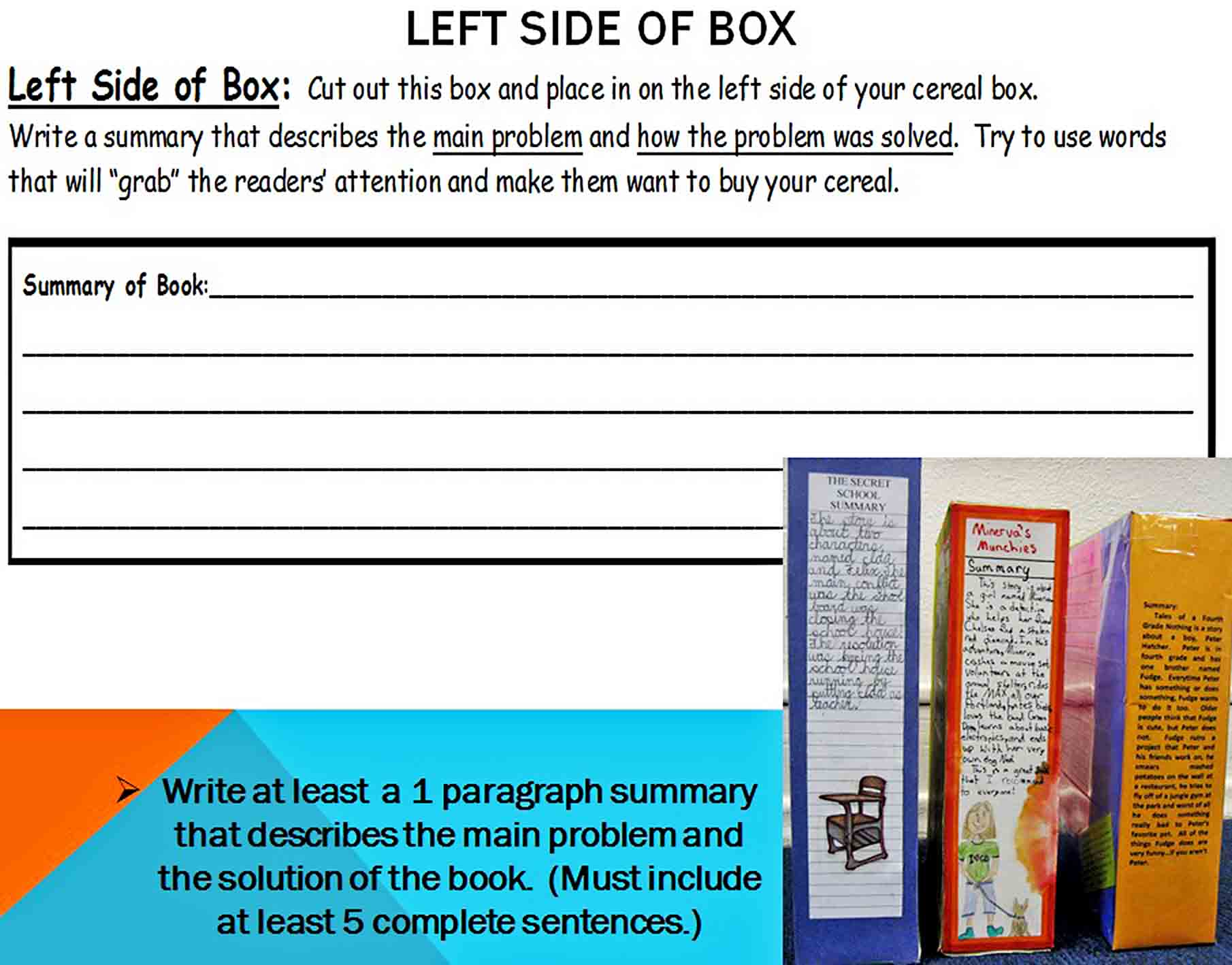 Templates cereal box book report1